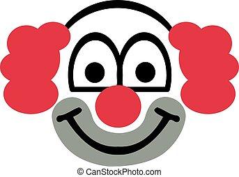 Clown head with red hair