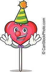 Clown heart lollipop mascot cartoon vector illustration