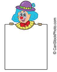 Clown holding blank board - vector illustration.