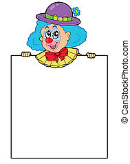 Clown holding blank board - vector illustration.