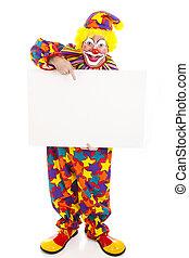 Clown Holding Blank Sign - Full Body - Full body isolated...