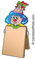 Clown holding information board