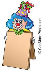 Clown holding information board