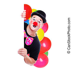 Clown holding the blank board