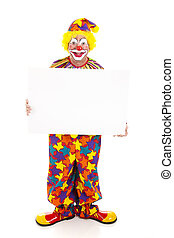 Clown Holds Sign - Full Body - Happy clown holding a blank...