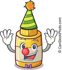 Clown homemade mustard sauce in cartoon bottle
