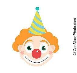 Clown icon flat style , isolated on white background. Vector illustration.