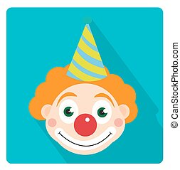 Clown icon flat style with long shadows, isolated on white background. Vector illustration.