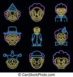 Clown icons set vector neon
