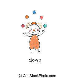 clown., illustration.