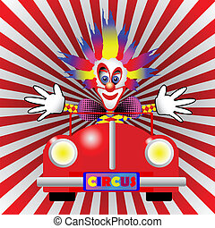 clown in a car