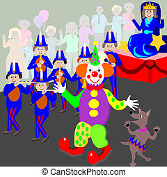 Cartoon illustration of a happy clown in a parade