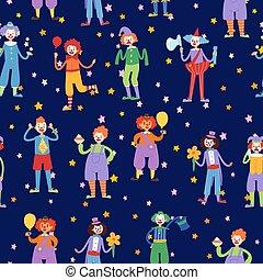 Clown in circus, juggler and acrobat actors seamless pattern cartoon vector illustration.