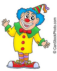 Clown in colorful outfit - color illustration.