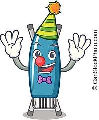 Clown iron board mascot cartoon vector illustration