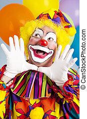 Clown - Jazz Hands - Adorable birthday clown making a jazz...