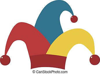 Clown jester hat flat design icon