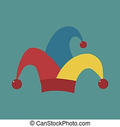 Clown jester hat flat long shadow design icon