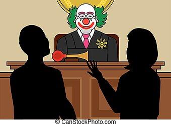 Clown Judge - Clown judge is listening to lawyers argue...