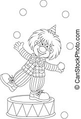 Funny clown juggling small balls, black and white outline vector illustration for a coloring book