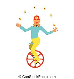Clown juggler on a unicycle icon. Vintage Vector illustration.