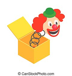 Clown jumps out of the box icon in isometric 3d style on a white background