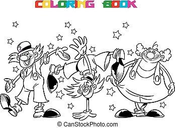 clown, karikatur, drei