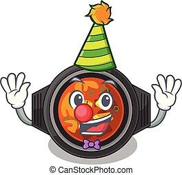 Clown kimchi tighe above the cartoon table vector...