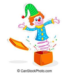 clown, komen uit, van, doosje