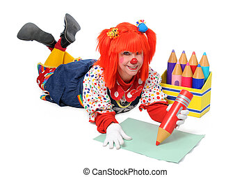 Clown Laying Down Writing - Clown laying down on the floor ...