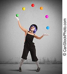 Clown like a juggler - Clown playing with balls like a ...