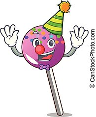 Clown lollipop with sprinkles mascot cartoon