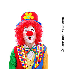 Clown looking to the copy space area