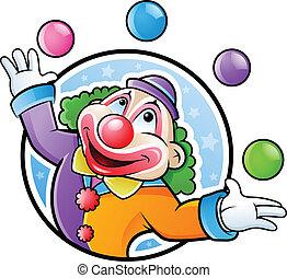 clown, lycklig