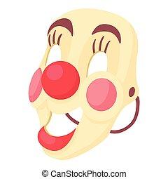 Clown mask icon, cartoon style