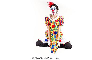 clown, mid-air