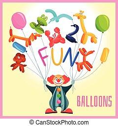 clown, mit, luftballone