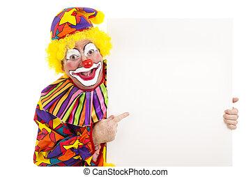 clown, mit, weißer platz