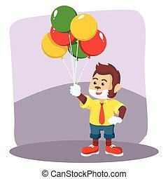 clown monkey selling balloon
