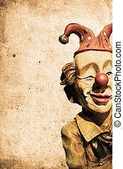 old funny clown in retro design look