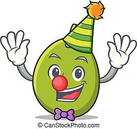 Clown olive mascot cartoon style