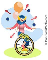 Clown on a bike juggles. In minimalist style Cartoon flat Vector