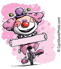 Clown on Clown on Unicycle Holding a Label - Girl Colors