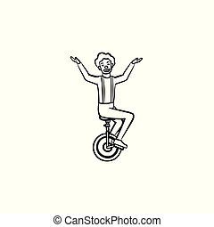Clown on one wheel bicycle hand drawn sketch icon.