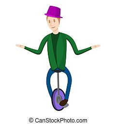Clown on one wheel bike icon, cartoon style - Clown on one...