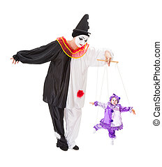 Clown on strings - Pierrot playing with a living clown as a...