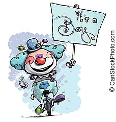 Clown on Unicycle Hoding an its a boy Placard