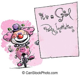 Clown on Unicycle Holding Invitation-It's a Girl Party