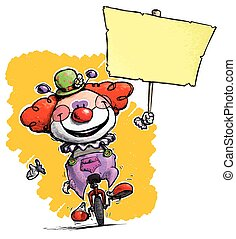 Clown on Unicycle Holding Placard - Cartoon-Artistic...