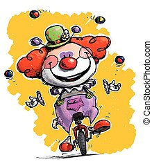 Clown on Unicycle Juggling - Cartoon-Artistic illustration...
